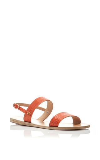 Medium ancient greek sandals orange clio printed croc double strap sandals