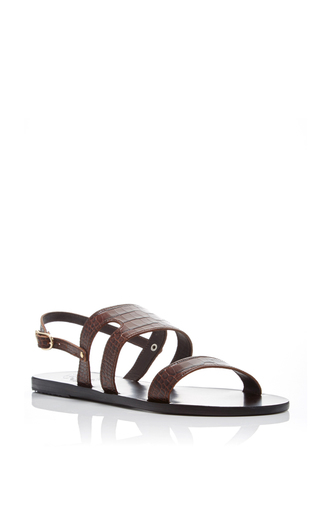 Athanasia Crocodile Embossed Sandals by ANCIENT GREEK SANDALS Now Available on Moda Operandi
