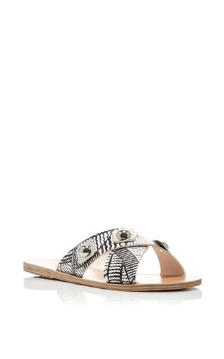 Peter Pilotto X Ancient Greek Sandals Thais Printed Leather Sandals by ANCIENT GREEK SANDALS Now Available on Moda Operandi