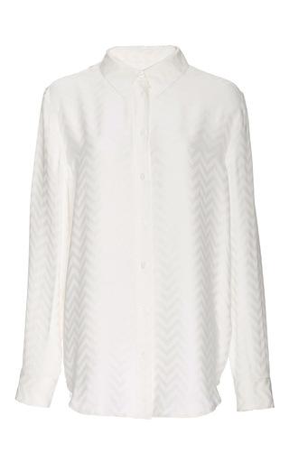 Silk Embossed Chevron Reese Shirt by EQUIPMENT Now Available on Moda Operandi