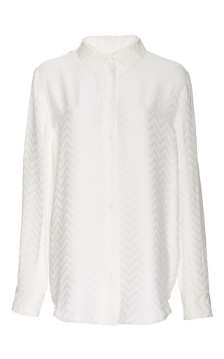 Medium equipment white silk embossed chevron reese shirt