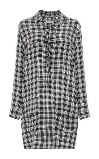 Knox Silk Check Lace Up Front Dress by EQUIPMENT Now Available on Moda Operandi