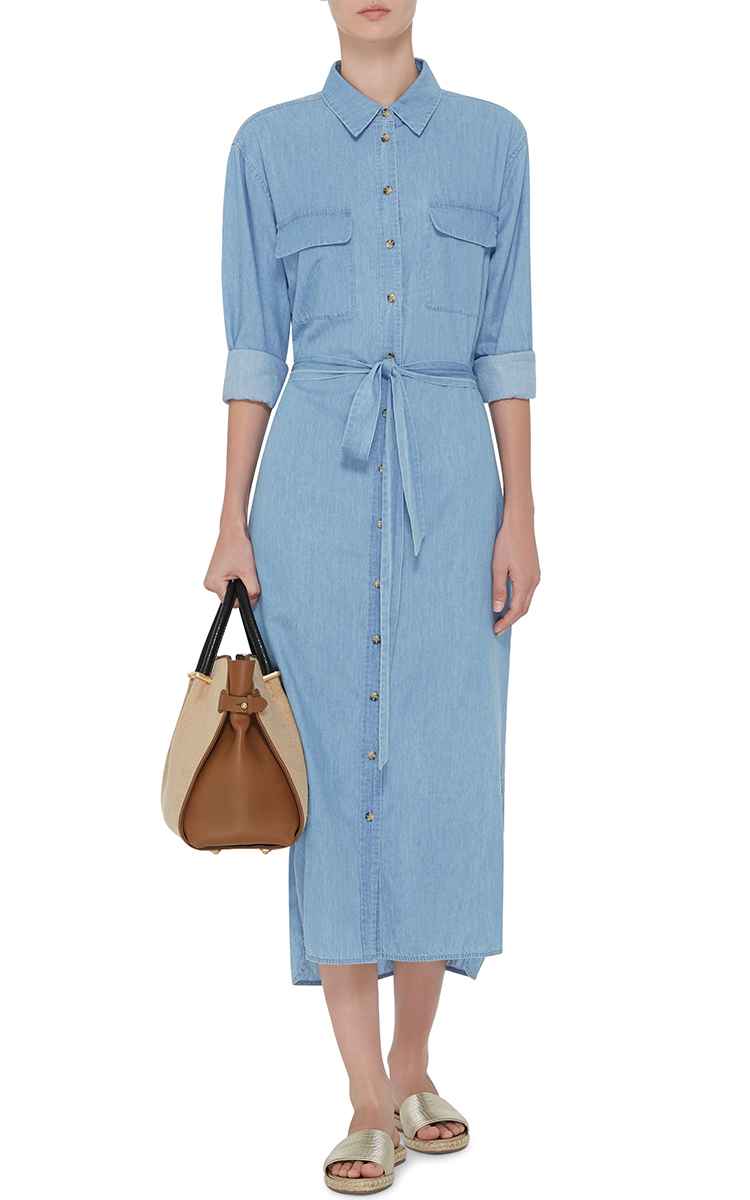 Delany Denim Shirt Dress With Waist Tie By Equipment Moda Operandi