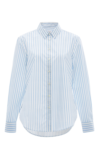 Leema Silk Striped Contrast Shirt by EQUIPMENT Now Available on Moda Operandi