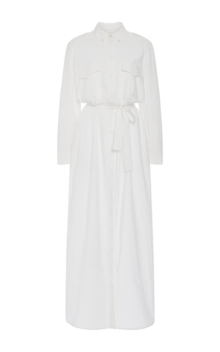 White Cotton Maxi Shirt Dress by EQUIPMENT Now Available on Moda Operandi