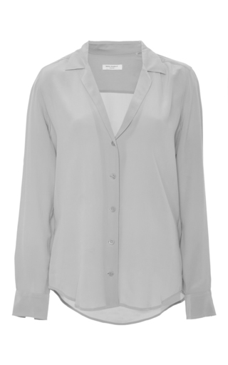 Adalyn Silk Low V Neck Button Down Shirt by EQUIPMENT Now Available on Moda Operandi