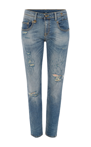 Medium r13 denim light wash boy skinny jeans with distressed detailing