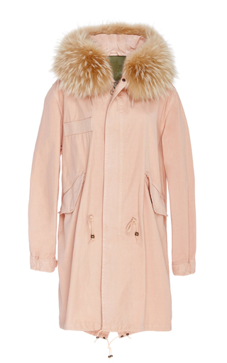 Medium mr mrs italy pink racoon trimmed new marble canvas parka