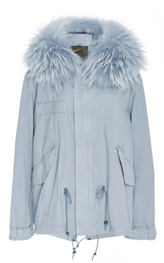 Medium mr mrs italy blue racoon trimmed light blue canvas parka