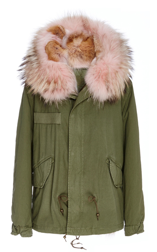 Medium mr mrs italy green pastel pink coyote lined army green mini parka