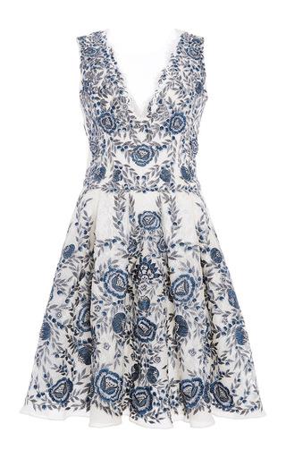 Medium marchesa ivory sleeveless embroidered lace dress