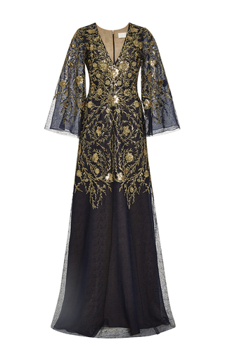 Medium marchesa navy embroidered v neck caftan