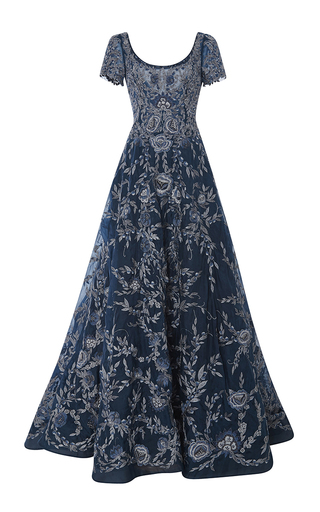 Medium marchesa blue embroidered cap sleeve ball gown