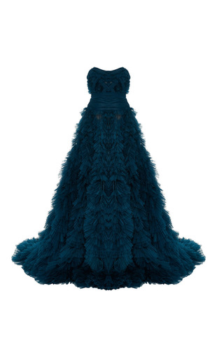 Medium marchesa blue strapless tulle ball gown