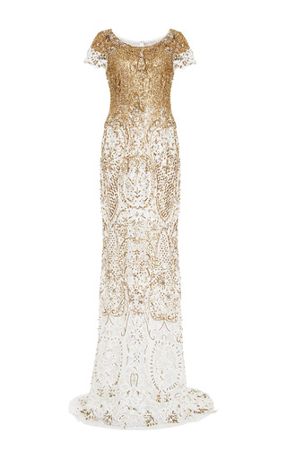 Medium marchesa gold embroidered lace gown