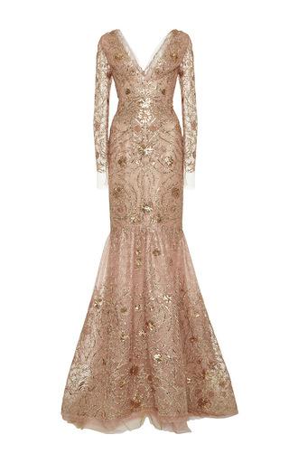 Medium marchesa gold v neck long sleeve tulle gown