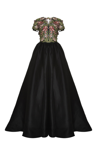 Medium marchesa black floral applique and silk faille gown