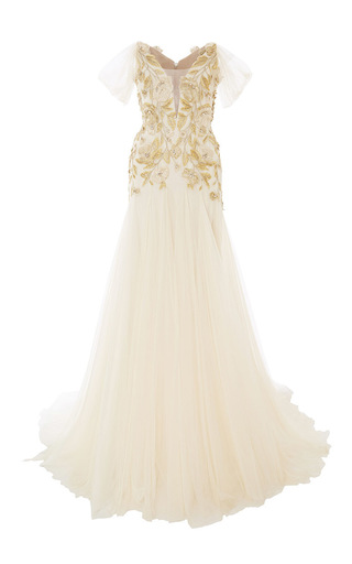 Medium marchesa nude floral applique tulle gown