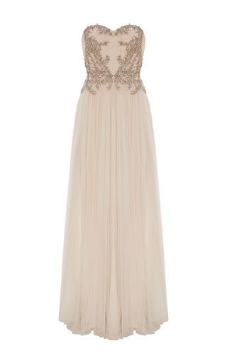 Medium marchesa light pink embroidered strapless a line gown
