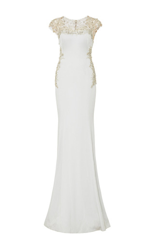 Medium marchesa silver embroidered illusion crepe gown