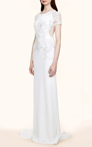 Short Sleeve Crepe Gown by MARCHESA Now Available on Moda Operandi