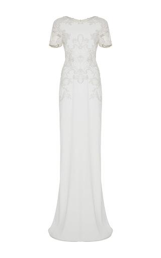Medium marchesa ivory short sleeve crepe gown