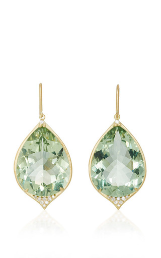 Medium jamie wolf green pear shape aladdin pave point earring  2
