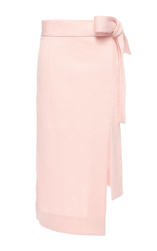 Medium marni pink three dimensional jacquard midi bow skirt