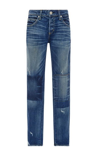 Medium amo  3 light wash tomboy patchwork detail jeans