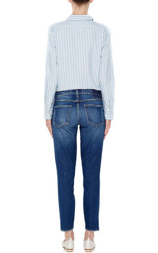 Twist Skinny Low Rise Cropped Jeans With Ankle Slit by AMO Now Available on Moda Operandi