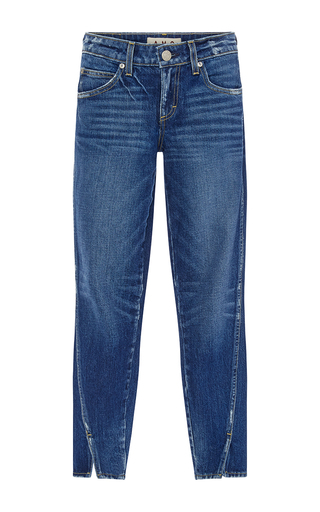 Medium amo  3 dark wash twist skinny cropped jeans with ankle slit