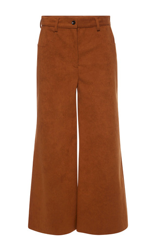 Medium msgm brown bronze alcantara crop pant