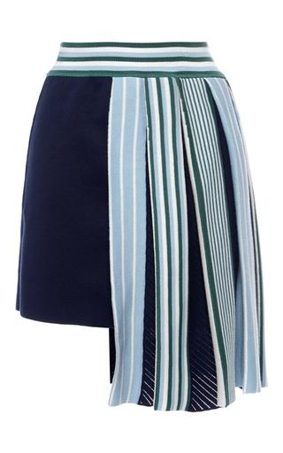Medium msgm navy navy regimental plisse knit mini skirt
