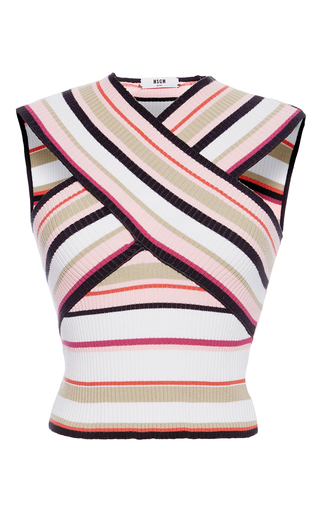 Medium msgm multi stripe knit sleeveless top
