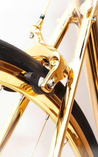 Made To Order 24 K Gold Racing Bike  by GOLDGENIE Now Available on Moda Operandi