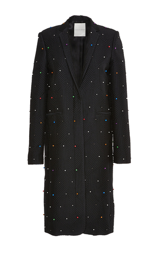 Medium marco de vincenzo black multicolored studs coat