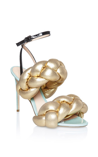 Medium marco de vincenzo gold gold braided sandal