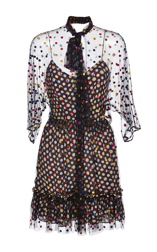 Medium marco de vincenzo brown tulle polka dot dress