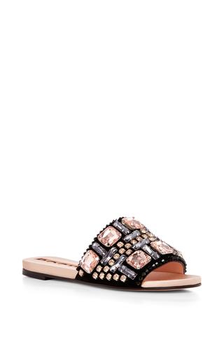 Medium rochas multi crystal embellished leather sandals