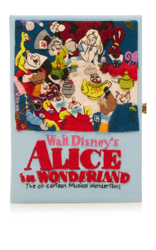 Medium olympia le tan light blue alice in wonderland musical book clutch