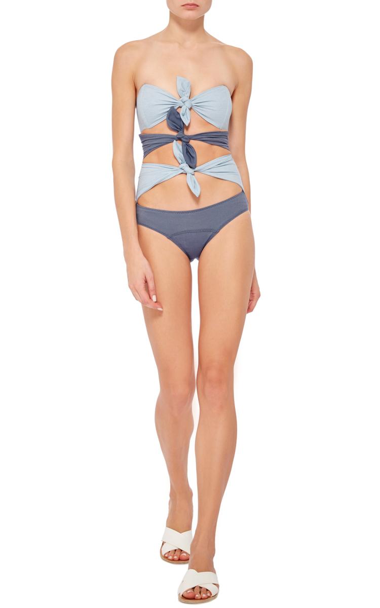 a695b98309cb5 Lisa Marie Fernandez Triple Knotted Denim One Piece Swimsuit. CLOSE. Loading