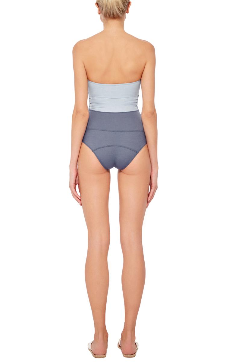 c8ea7dc30a199 Lisa Marie Fernandez Triple Knotted Denim One Piece Swimsuit. CLOSE.  Loading. Loading