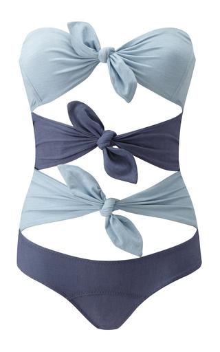 Medium lisa marie fernandez blue triple knotted denim one piece swimsuit