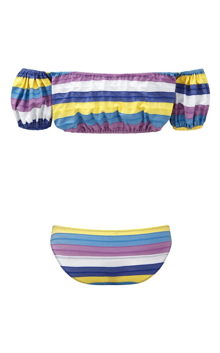 150feca1d28 Lisa Marie FernandezBubble Striped Off the Shoulder Bikini Set. CLOSE.  Loading. Loading. Loading