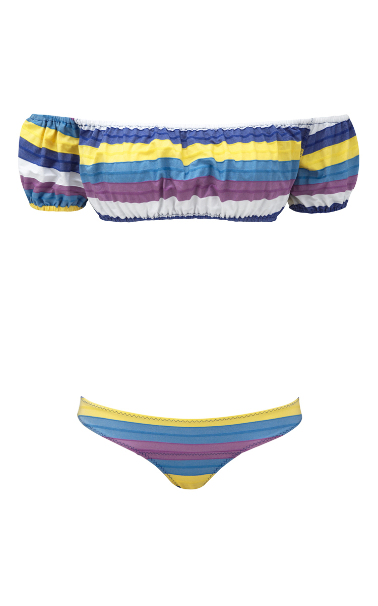 3444965da9fa2 Bubble Striped Off the Shoulder Bikini Set by Lisa Marie Fernandez ...