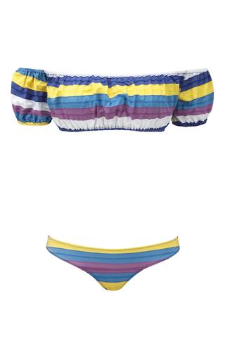 Medium lisa marie fernandez multi bubble striped off the shoulder bikini set