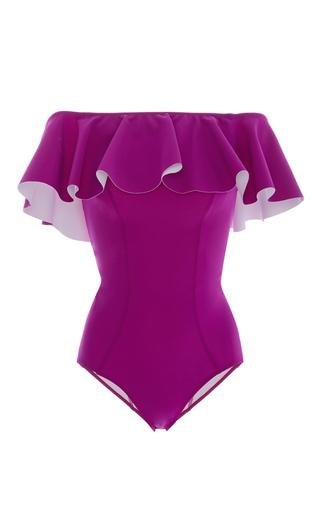 Medium lisa marie fernandez purple mira ruffled off the shoulder one piece swimsuit
