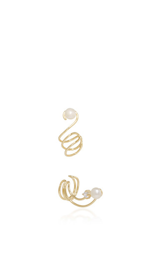 Astro Gold And Pearl Spiral Ear Cuff Set by FALLON Now Available on Moda Operandi