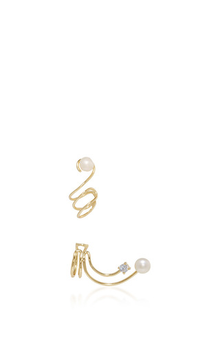 Medium fallon gold astro gold and pearl spiral ear cuff set