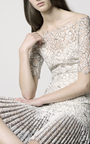 Lace Dress With Pleated Hem by HUISHAN ZHANG Now Available on Moda Operandi